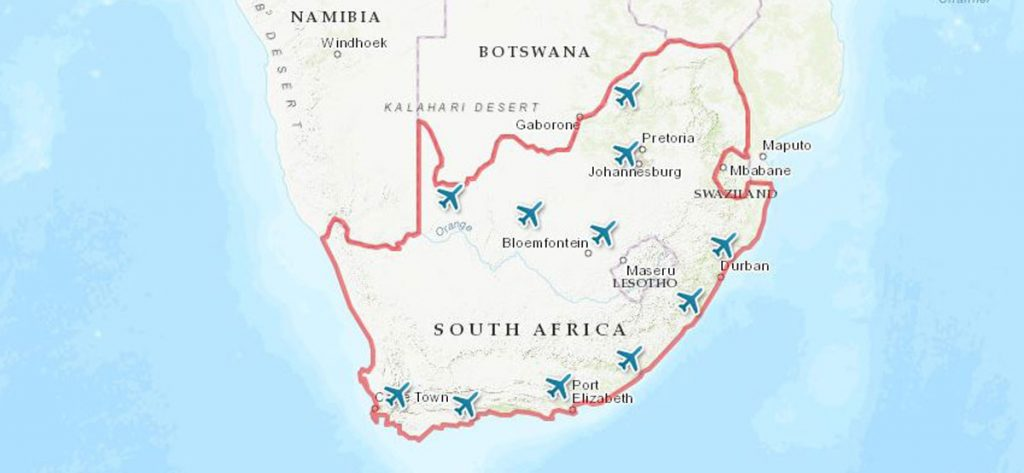 South Africa airports map