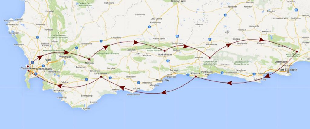 garden route travel map