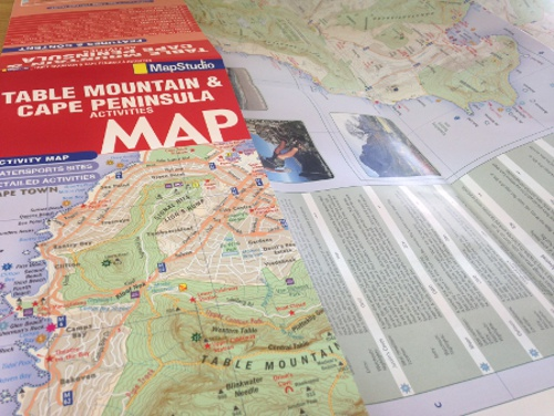 Fun folded activities map of Table Mountain and the Cape Peninsula