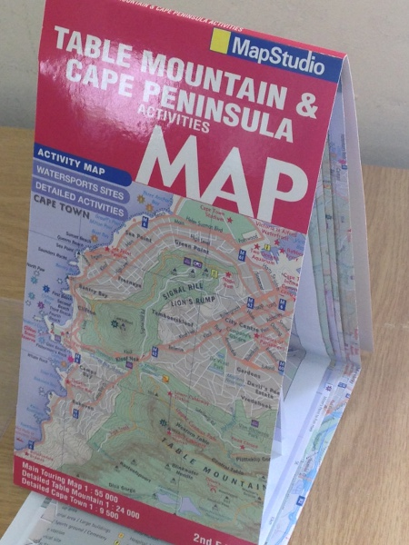 Fun folded activities map of Table Mountain and the Cape Peninsula - 3D View