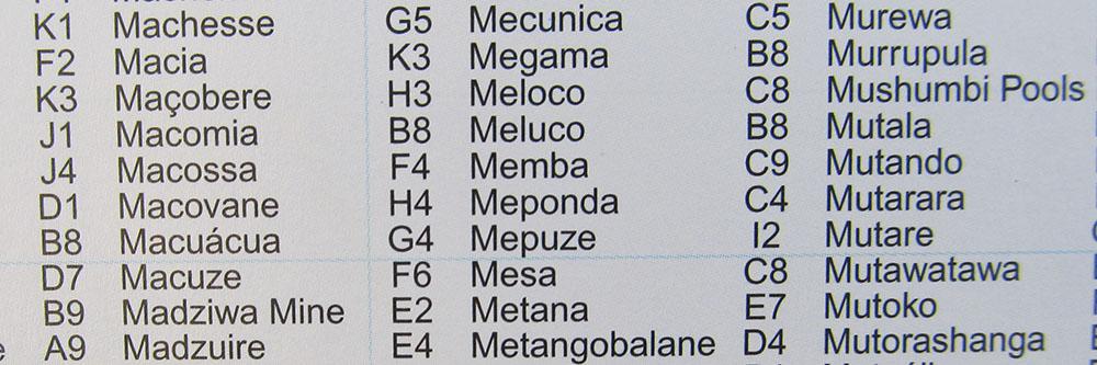 Mozambique map location index