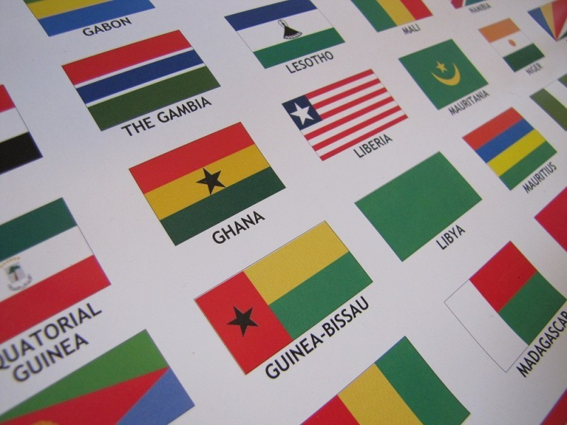 Flags on the African wall map